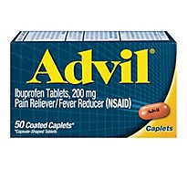 Advil Pain Reliever Fever Reducer Coated Caplet Ibuprofen Temporary Pain Relief - 50 Count