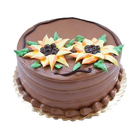 Bakery Cake 10 Inch 2 Layer Chocolate Flower Border - Each
