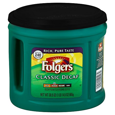 Folgers Coffee Ground Medium Roast Classic Decaf - 30.5 Oz