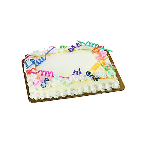 Bakery Cake 1/4 Sheet White Chocolate Iced Celebration - Each