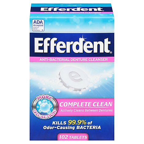 Efferdent Denture Cleanser Anti-Bacterial Tablets - 102 Count