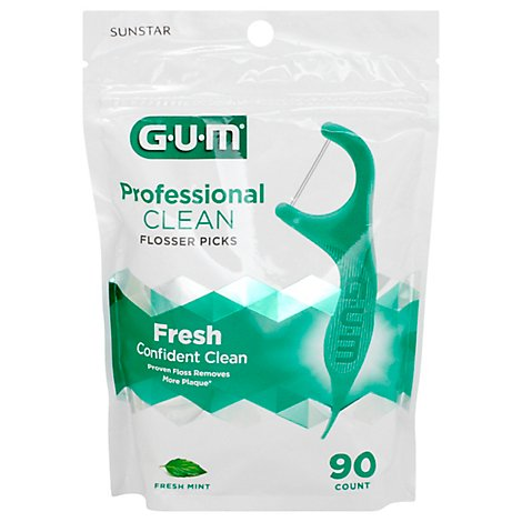 GUM Flossers Professional Clean Extra Strong Floss Fresh Mint - 90 Count