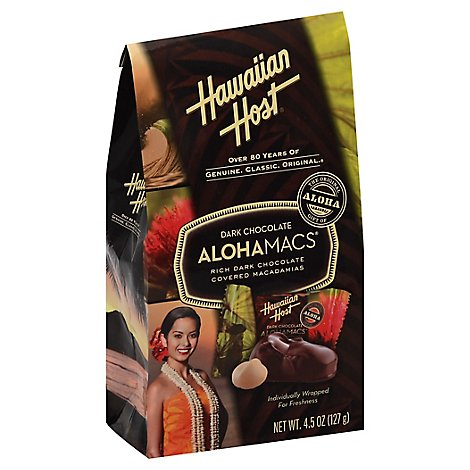 Hawaiian Host Alohamacs Macadamia Nuts Dark Chocolate Boutique Bag - 4.5 Oz