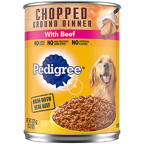 Pedigree Dog Food Adult Wet Chopped Ground Dinner With Beef Can - 13.2 Oz