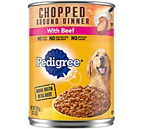 Pedigree Dog Food Wet For Adult Chopped Ground Dinner With Beef - 13.2 Oz