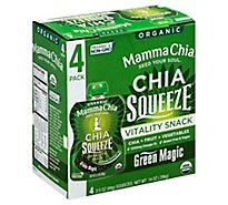 Mamma Chia Organic Vitality Snack Chia Squeeze Green Magic Pack - 4-3.5 Oz