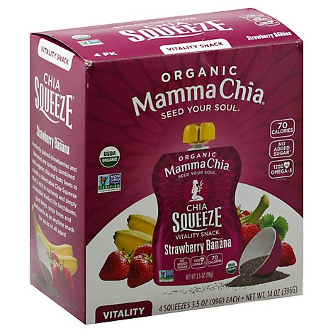Mamma Chia Organic Vitality Snack Chia Squeeze Strawberry Banana Pack - 4-3.5 Oz