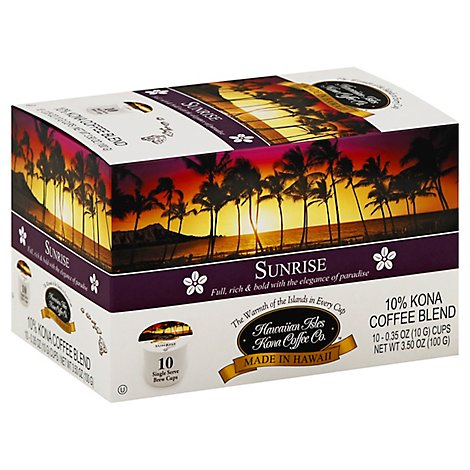 Hawaiian Isles Coffee 10% Kona Single Serve Brew Cups Sunrise - 10-0.35 Oz