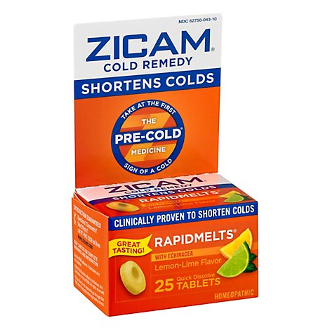 Zicam Cold Remedy Quick Dissolve Tablets Lemon-Lime Flavor - 25 Count