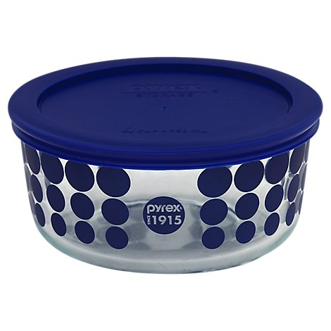 Pyrex Storage Bowl Glass With Lid 4 Cup Blue Dots - Each