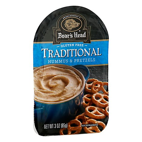 Boars Head Hummus Traditional & Pretzels Snack - 4 Pack