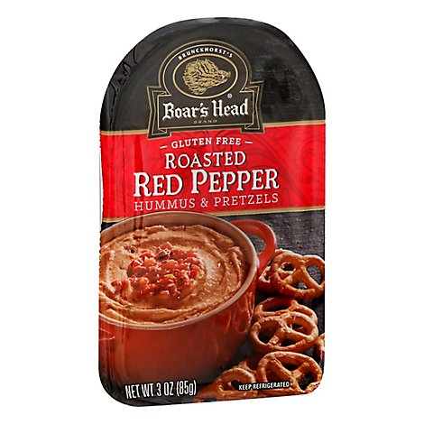 Boars Head Hummus All Natural Red Pepper & Pretzels - 4 Pack