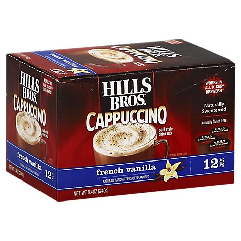 Hills Bros. Cappuccino Drink Mix K-Cups French Vanilla 12 Count - 8.4 Oz