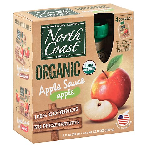 North Coast Organic Apple Sauce Apple Pouches - 4-3.2 Oz