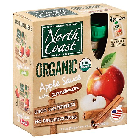 North Coast Organic Apple Sauce With Cinnamon Pouches - 4-3.2 Oz