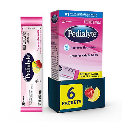Pedialyte Electrolyte Powder Strawberry Lemonade - 6-0.6 Oz