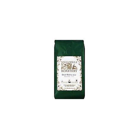 WALLA WALLA ROASTERY Coffee Whole Bean Medium Dark Roast Espresso Blend Decaf - 12 Oz