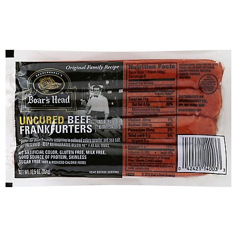 Boars Head Hot Dogs Beef Skinless - 12.5Oz