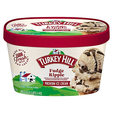 Turkey Hill Ice Cream Fudge Ripple - 48 Fl. Oz.
