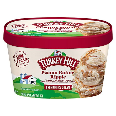 Turkey Hill Ice Cream Peanut Butter Ripple - 48 Oz
