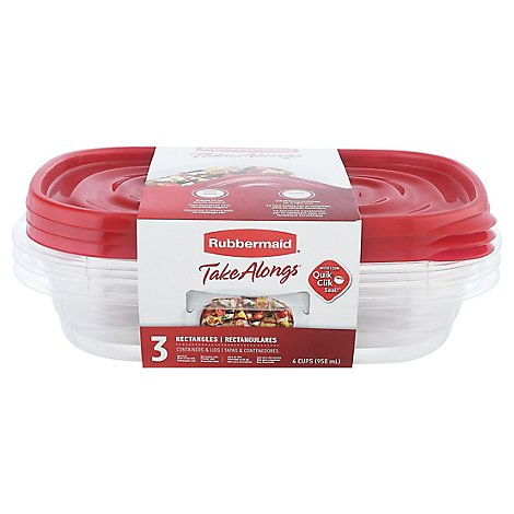 Rubbermaid Take Alongs Containers + Lids Divided Rectangles With Quik Clik Seal Cups - 3 Count