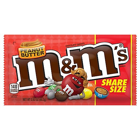 M&MS Chocolate Candies Peanut Butter Share Size - 2.83 Oz