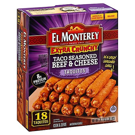 El Monterey Frozen Mexican Food Extra Crunchy Taquitos Taco Beef & Cheese 21 Count - 24.2 Oz