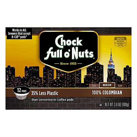 Chock full o Nuts Coffee Pods Medium Roast Columbian Box 12 Count - 3.8 Oz