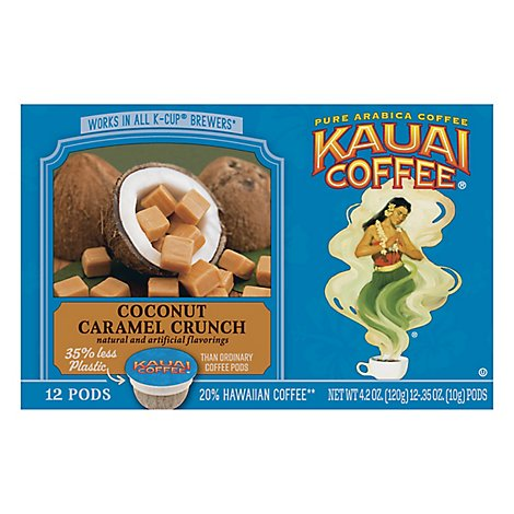 Kauai Coffee Coffee K-Cups Coconut Caramel Crunch - 12-0.35 Oz