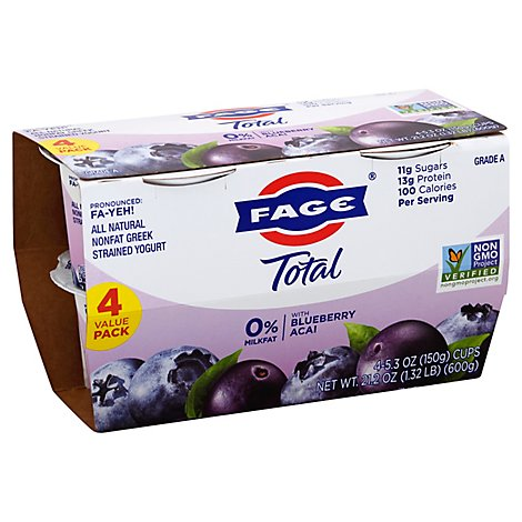Fage Usa Yogurt Total 0% Blueberry Acai 4 Pack - 21.2 Oz