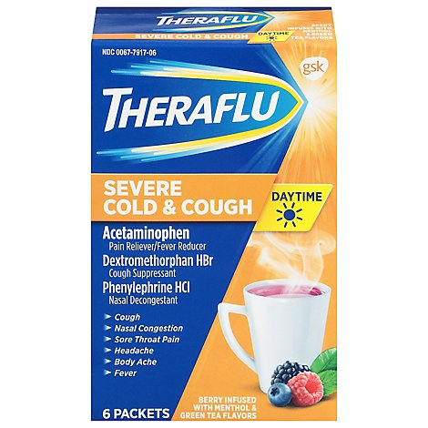 Theraflu Severe Cold & Cough Daytime Packets Berry Infused with Menthol & Green Tea - 6 Count