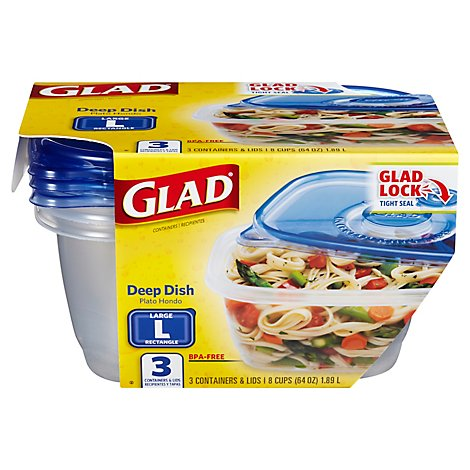 Glad Containers & Lids Deep Dish Large Rectangle 8 Cups Pack - 3 Count