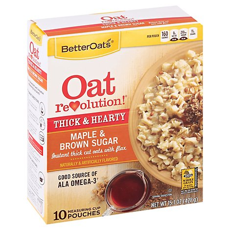 Better Oats Oat Revolution! Oatmeal Instant Thick Cut With Flax Maple & Brown Sugar - 15.1 Oz