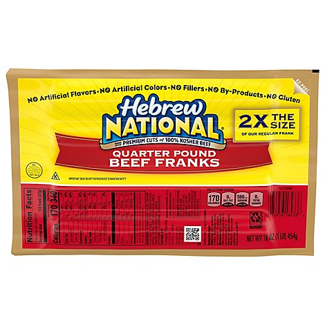 Hebrew National Franks Quarter Pound Beef - 16 Oz