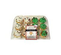 Bakery Cupcake Mini Gold Christmas 12 Count - Each