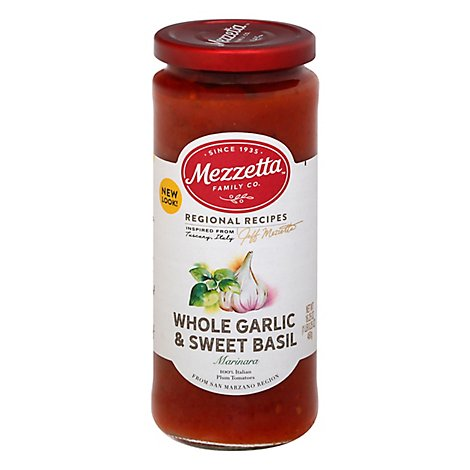 Mezzetta Marinara Sauce Whole Garlic & Sweet Basil Jar - 16.25 Oz