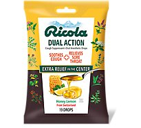 Ricola Dual Action Cough Suppressant Oral Anesthetic Drops Honey Lemon - 19 Count
