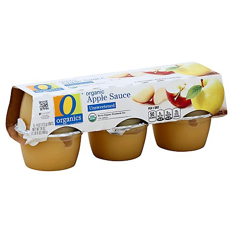 O Organics Organic Apple Sauce Unsweetened Cups - 6-4 Oz