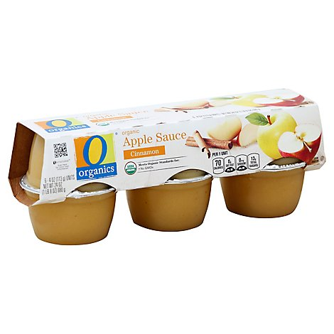 O Organics Organic Apple Sauce Cinnamon Cups - 6-4 Oz