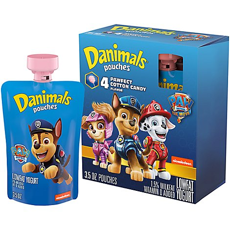 Danimals Squeezables Yogurt Lowfat Cotton Candy - 4-3.5 Oz