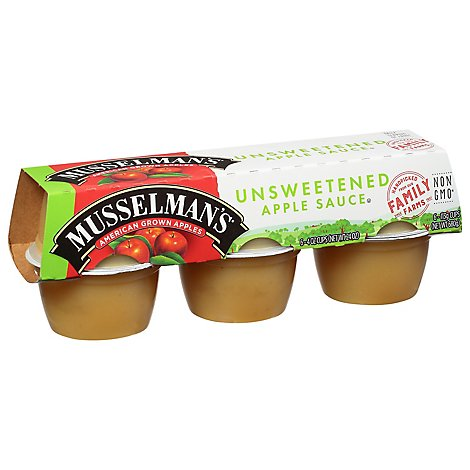 Musselmans Apple Sauce Unsweetened Cups - 6-4 Oz