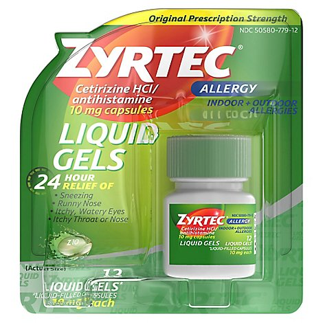 Zyrtec Allergy Liquid Gels Adult - 12 Count