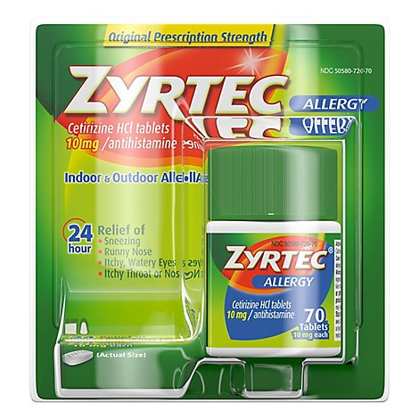 Zyrtec Tablets Allergy Reliff 10mg - 70 Count