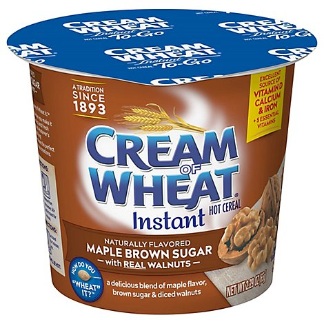 Cream Of Wheat Cereal Hot Instant To-Go Maple Brown Sugar Walnut - 2.29 Oz