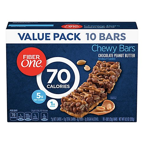Fiber One Chewy Bars 90 Calories Chocolate Peanut Butter Value Pack - 10-0.82 Oz