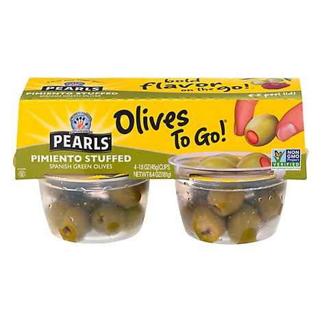 Musco Family Olive Co. Pearls Olives To Go! Pimiento Stuffed Spanish Green - 4-1.4 Oz