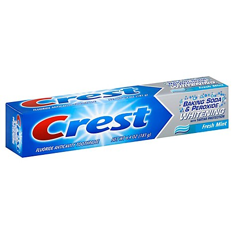Crest Toothpaste Fluoride Anticavity Baking Soda & Peroxide Whitening Fresh Mint - 6.4 Oz