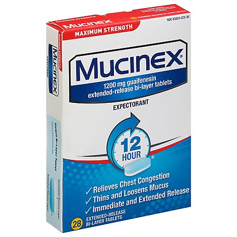 Mucinex Expectorant 12 Hour Maximum Strength 1200 mg Tablets - 28 Count