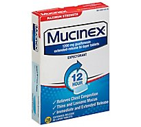 Mucinex Expectorant Chest Congestion 12 Hour Relief Maximum Strength Tablets - 28 Count