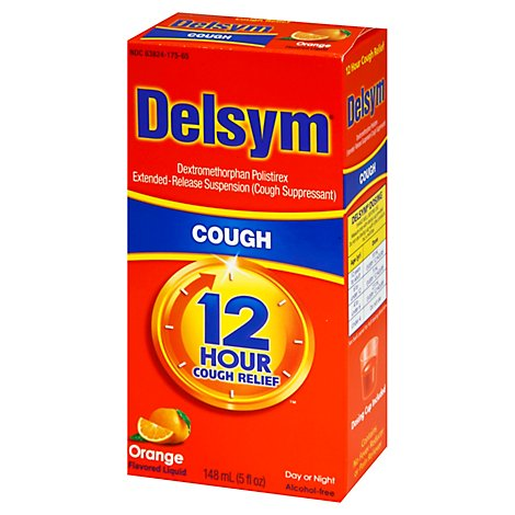 Delsym Cough Suppressant Cough Relief 12 Hour Orange Flavored - 5 Fl. Oz.